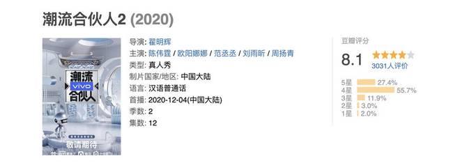 """豆瓣开芬8.1""""时尚伙伴2""""在全国综艺节目中排名第一-中国日报"""